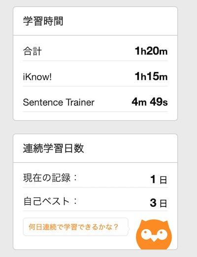 iKnowの累積使用時間